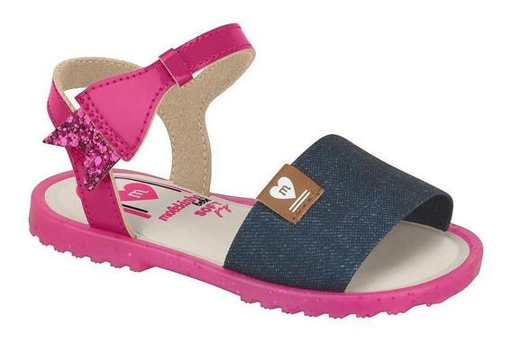 Sandalia Bebe Jeans Escuro/pink Molekinha 2700.201