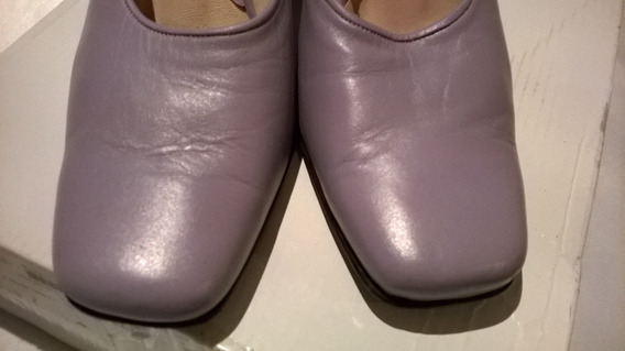 Zapatos Sin Talón, Zuecos. Todo Cuero, 38, Lila, Impecables.