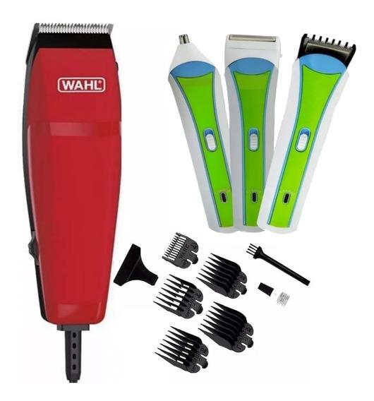 Maquina De Cortar Cabelo Wahl + Aparador Barbeador 3 Em 1