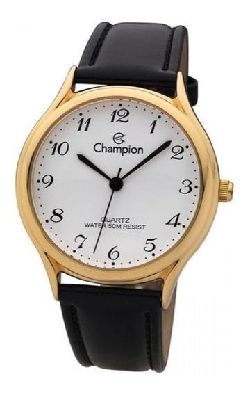 Relógio Champion Dourado Pulseira Couro Ch22233m Branco