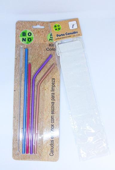 Kit Com 4 Canudos Inox Reutilizável + 1 Escova De Limpeza