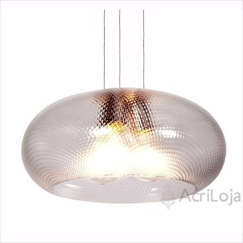 Luminária Lustre Pendente Póllux Acrílico Prismático 45 X 22