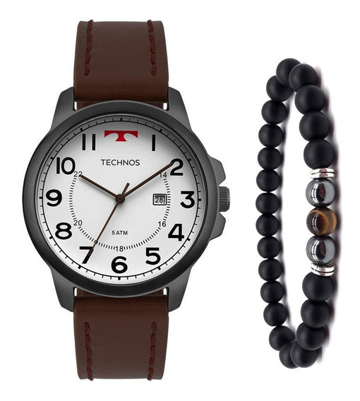 Relógio Technos Masculino 2115mpb/2b Grafite Couro +pulseira