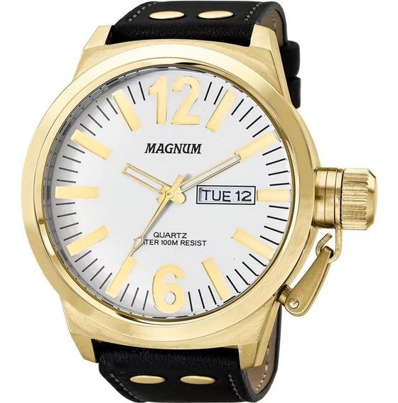 Relógio Magnum Masculino Couro Preto Original Com Calendário