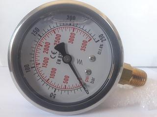 Manómetro Con Baño De Glicerina, Rango De 0-250 Bar