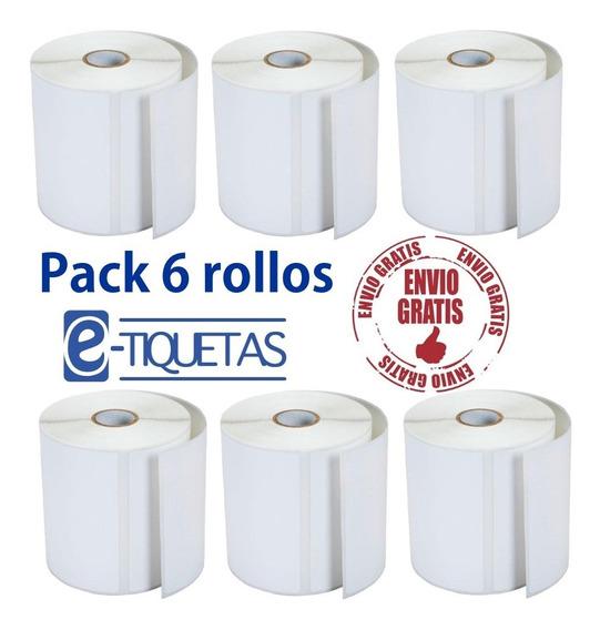 6 Rollos Etiquetas Autoadhesivas Térmico 100x100 500u Envio