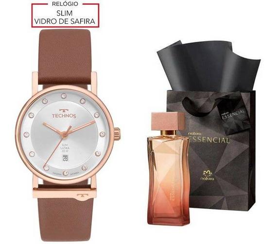 Relógio Technos Feminino + Perfume Essencial Feminino 100ml