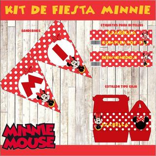 Kit Imprimible Minnie Roja Fiesta Cumpleaños Cotillon