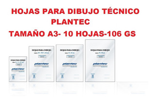 Hojas Para Dibujo Técnico A3 Plantec X 10 Hojas De 106 Gms