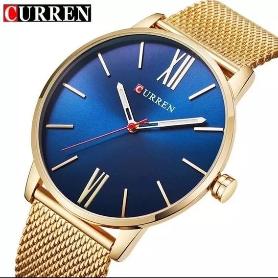 Relógio Masculino Curren Slim Fino Quartzo Casual E.21