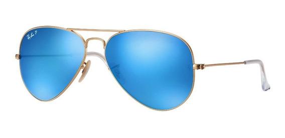 Ray Ban Rb3025 112/4l Aviator Azul Espejo Polarizado Dorado
