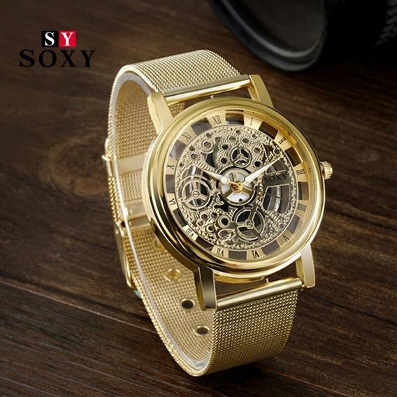 Relógio Feminino Dourado C/ 40mm De Diâmetro Pronta Entrega