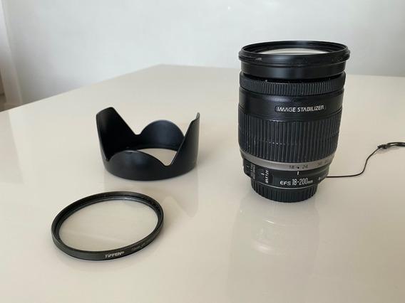 Lente Canon 18-200 Is + Filtro Teffen Uv + Parasol Plástico