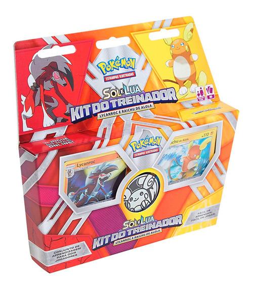 Pokémon Kit Do Treinador Sol E Lua Lycanroc Raichu + Moeda