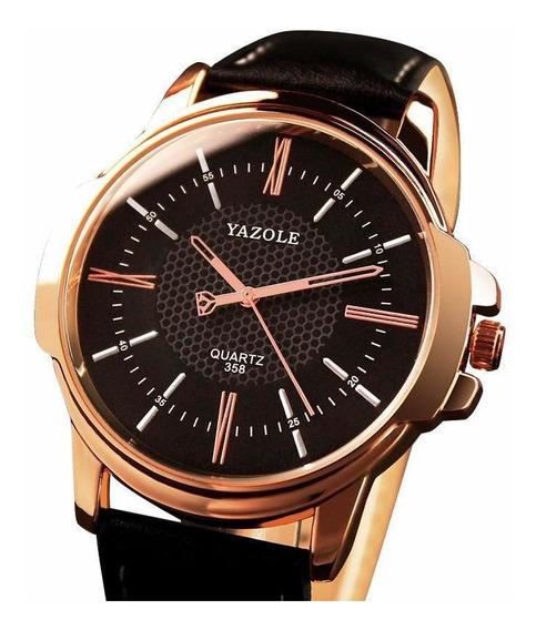 Relógio Masculino Yazole 358 Pulseira Couro Legítimo Bronze