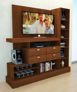 Modular Mueble Mesa Nature Tv Lcd Led 4 Cajones 11 Estantes