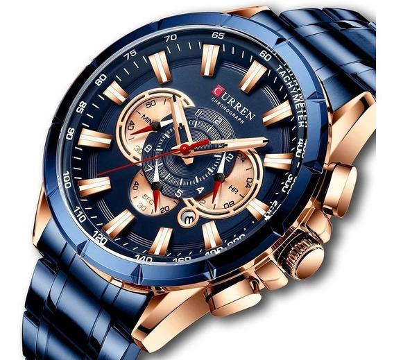 Relógio Masculino Curren Luxo Azul Moderno De Aço Lançamento