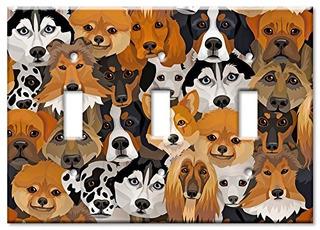 Arte Platos Marca Placa Switchwall Solo Perros Multicolo
