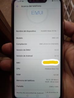 Huawei Mate 20 Lite Usado (4gram 64memoria)