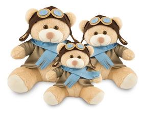 Urso Pelúcia Aviador 20cm, 25cm E 30cm Para Nichos-