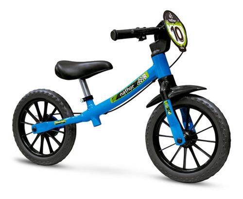 Bicicleta Infantil Sem Pedal Equilíbrio Balance Azul -nathor