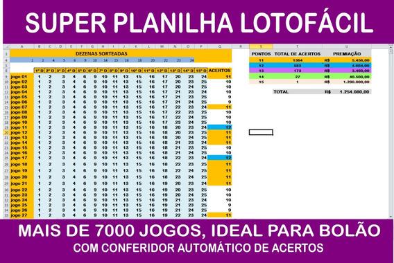 Super Planilha Lotofácil 7389 Jogos