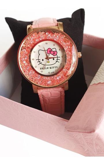 Reloj Pulsera Hello Kitty Rosa Claro Cristales Envio Gratis
