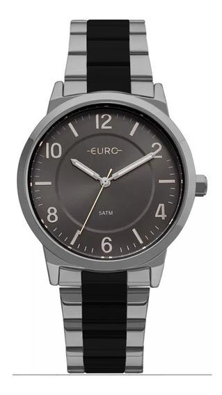 Relógio Feminino Euro Eu2036ylv/5k Prata/preto