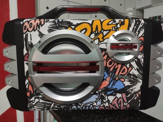 Caixa De Som Ecopowerep-2241 Rádio Fm Bluetooth E Microfone