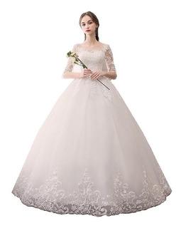 Vestido De Noiva Renda Nb50 Renda Barato Juddy Brinde Véu