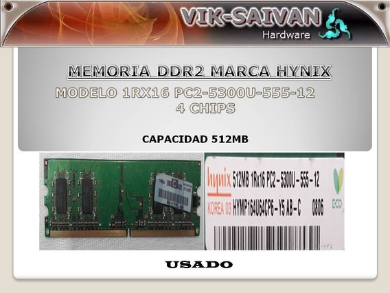Memoria Ddr2 Hynix 512mb Pc2-5300 667mhz 4 Chips 13