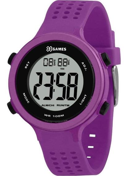 Relógio X Games Feminino Roxo Digital Xfppd073 Original + Nf
