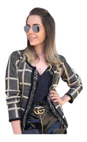 Blusa Blazer Xadrez Casaco Grosso Inverno Social Tricot
