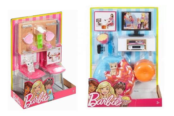 Barbie Móveis P/ Casa Sofá Tv Acessório Sala D Jantar Mattel
