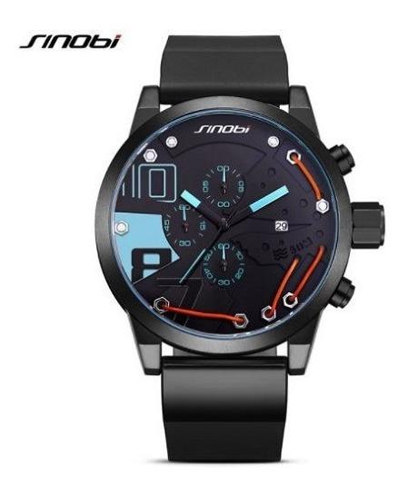 Relógio Sinobi Sport Azul Analógico Data Cronômetro 50mm