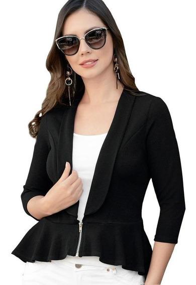 Saco Dama Mujer Blazer Moda Formal Solapa Cierre Negro Comod