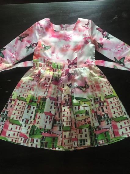 Original Vestido De Fiesta Importado Para Niñas Con Paisaje