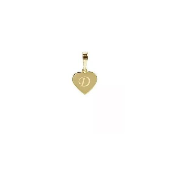 Pingente Letra D Ouro 18 Quilates P Colar , Coração 1cm Pg47