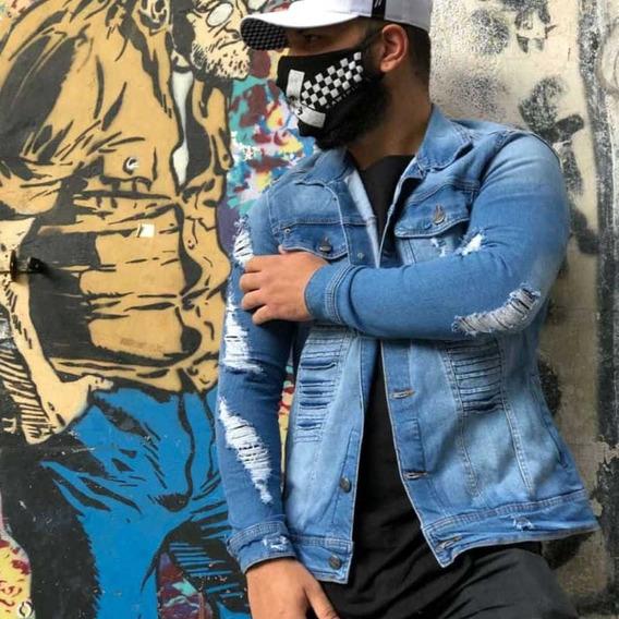 Jaqueta Nervura Jeans Com Elastano
