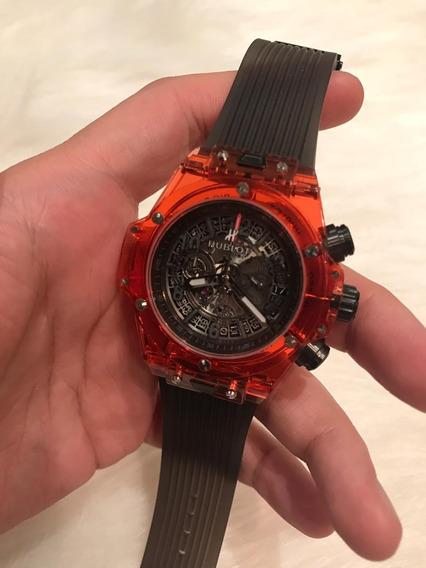 Relógio Hb Cristal Vermelho/preto 2a. G. 12x S/juros C/frete