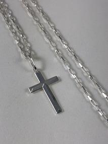 Corrente Cordão Prata Maciça 925 Bloco 70cm Crucifixo