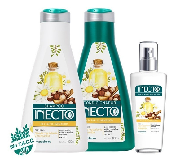 Set Shampoo Acondicionador 400ml Y Spray Inecto Iluminador