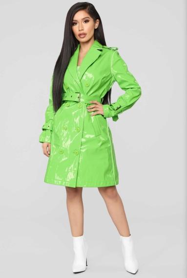 Tapado Piloto Abrigo Fashion Nova Importado Verde Neon