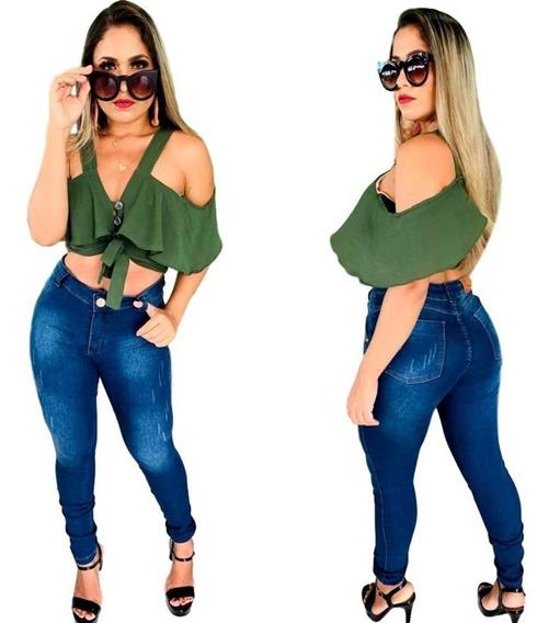 Kit 10 Calças Jeans Hot Pants Com Lycra Cós Alto Cça