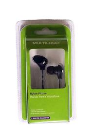 Fone De Ouvido Cabo Nylon Microfone Preto Multilaser Ph194