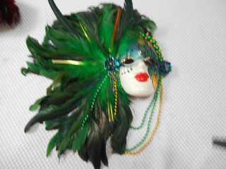 Máscara Carnaval De Venecia De Cerámica Y Plumas