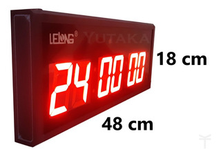 Cronômetro Digital Relógio Digital De Parede Painel Led Academia 48 Cm X 18 Cm X 4 Cm Bivolt Preto