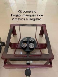 Kit Fogão Industrial Alta Pressão De Mesa 1 Boca - Bordo Roa