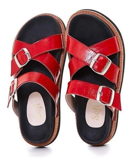 Sandalias Zapatos De Cuero Rojo Plantilla Anatómica Sofi