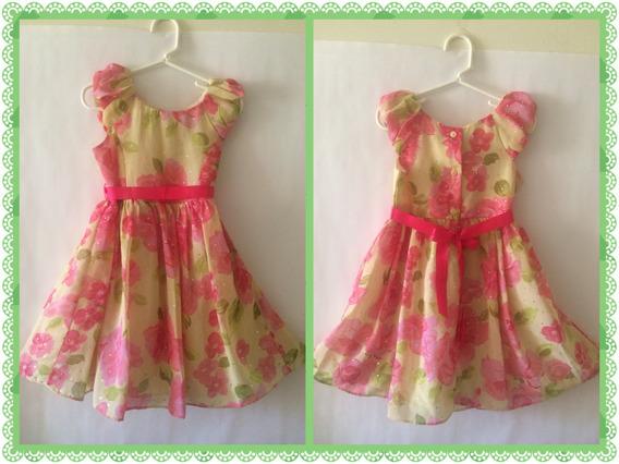 Vestido Niñas Importado Rosado, Verde Y Adornos Brillantes